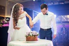 Couples romantiques des nouveaux mariés découpant délicieux image libre de droits