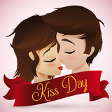 Couples romantiques embrassant pour le jour de baiser, illustration de vecteur Images libres de droits