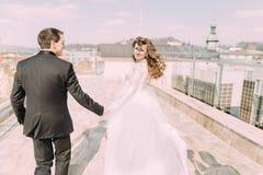 Couples romantiques marchant tenant des mains sur le toit avec le fond de ville Images libres de droits