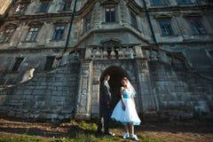 Couples romantiques posant sur un fond du vieux château Image stock