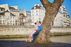 Couples romantiques sur le remblai de la Seine à Paris, France Photo libre de droits