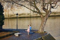 Couples romantiques sur le remblai de la Seine à Paris, France Photos libres de droits