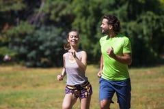 Couples sains, convenables et folâtres fonctionnant en parc Image stock