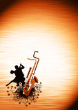 Couples and saxophone background. Spirited dance poster: couples and saxophone backgrond with space Royalty Free Stock Image