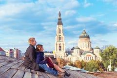 Couples se reposant sur le toit Images libres de droits