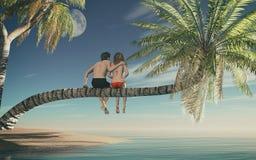 Couples se reposant sur un palmier Images libres de droits