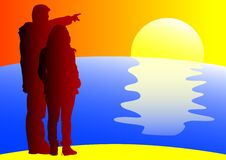 Couples on sea. Vector drawing silhouette couples on sea at sunset Stock Images