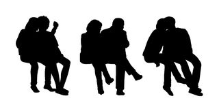 Couples seated outdoor silhouettes set 1. Black silhouettes of three couples of different age seated outside together in various postures Royalty Free Stock Images