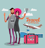 Couples selfie picture taken at the airport before traveling . Stock Images