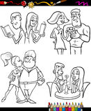 Couples set cartoon coloring page Stock Photos