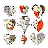 Couples, set of sketches for your design. Vector illustration Royalty Free Stock Photography