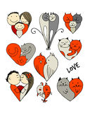 Couples, set of sketches for your design. Vector illustration Royalty Free Stock Images