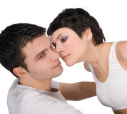 Couples de passion, beau jeune homme et plan rapproché de femme Images libres de droits