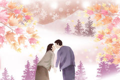 Couples share their first kiss in the woods - Graphic painting texture. Winter landscape with a love theme, illustration concept Stock Photos