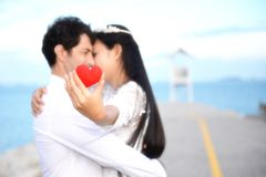 Couples showing love and happy in the midst of nature Stock Photography