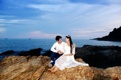 Couples showing love and happy in the midst of nature Royalty Free Stock Image