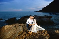 Couples showing love and happy in the midst of nature Royalty Free Stock Images