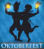 Couples Silhouette Celebrating with Beer in Oktoberfest, Vector Illustration Stock Photography