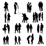 Couples silhouettes Stock Photos