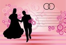 Couples silhouettés sur le rose Photos stock