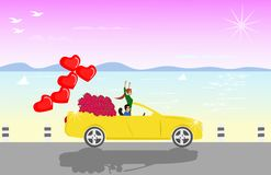 Couples sit on a yellow convertible with red roses and red heart shaped balloons. With sea as background stock illustration