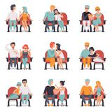 Couples sitting in cinema theatre and watching movie set, men and women on movie date vector. Illustration isolated on a white background royalty free illustration
