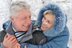 Couples supérieurs à l'hiver dehors photos stock