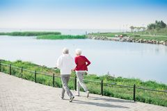 Couples supérieurs actifs fonctionnant le long du lac photographie stock