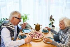 Couples supérieurs affectueux ayant l'heure du thé image stock