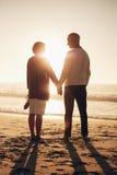 Couples supérieurs affectueux détendant par la mer Photo stock