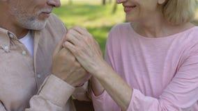 Couples supérieurs affectueux embrassant en parc, retraite confortable, vieillesse sûre banque de vidéos