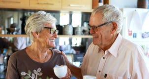 Couples supérieurs agissant l'un sur l'autre entre eux dans la cuisine 4k clips vidéos
