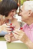 Couples supérieurs appréciant des cocktails dans la barre extérieure ensemble Images libres de droits