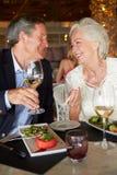 Couples supérieurs appréciant le repas dans le restaurant Images stock