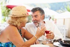 Couples supérieurs appréciant le repas dans le restaurant extérieur Photo stock