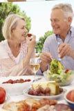 Couples supérieurs appréciant le repas extérieur ensemble Photos stock