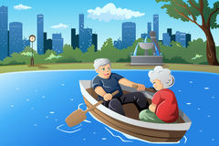 Couples supérieurs appréciant leur retraite illustration de vecteur