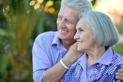 Couples supérieurs au jardin tropical Photographie stock libre de droits
