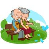 Couples supérieurs au parc illustration de vecteur