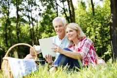Couples supérieurs ayant le pique-nique Photo libre de droits