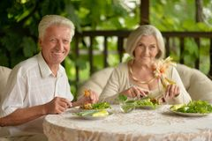 Couples supérieurs ayant le wagon-restaurant photo stock