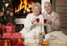 Couples supérieurs célébrant Noël ensemble Images libres de droits