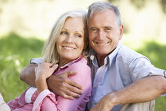 Couples supérieurs détendant en Sunny Summer Field Images stock