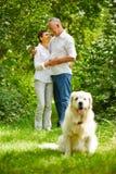 Couples supérieurs dans l'amour avec le chien Image libre de droits