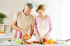 Couples supérieurs dans la cuisine Photographie stock libre de droits