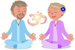 Couples supérieurs dans le vecteur de pose de zen Photographie stock libre de droits