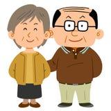 Couples supérieurs de caresse, un mâle mince de cheveux et une femme de cheveux courts illustration stock