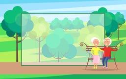 Couples supérieurs de jour heureux de grands-parents sur le banc Images libres de droits