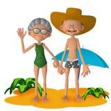 Couples supérieurs de la bande dessinée 3d heureuse les vacances Photos stock
