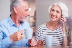 Couples supérieurs de sourire se reposant dans le café Photo stock